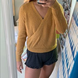 Mustard yellow Abercrombie and Fitch wrap sweater